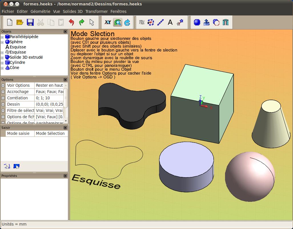heekscad - 3d - logiciels libres