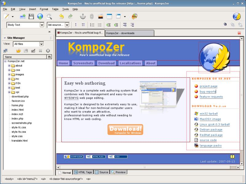 logiciel kompozer francais